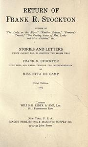 Cover of: Return of Frank R. Stockton | Etta De Camp
