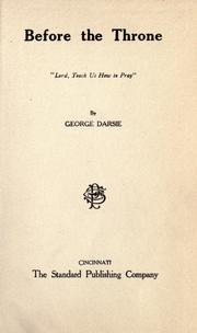 Cover of: Before the throne | George Darsie