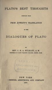 Cover of: Plato's best thoughts | Plato