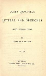 Cover of: Letters and speeches, with elucidations by Thomas Carlyle by Cromwell, Oliver