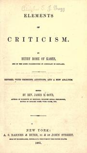 Cover of: Elements of criticism by Henry Home Lord Kames