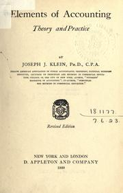 Cover of: Elements of accounting | Joseph Jerome Klein, Joseph J. Klein