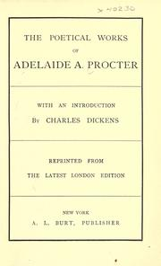 Cover of: The poetical works of Adelaide A. Procter | Adelaide Anne Procter