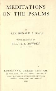Cover of: Meditations on the Psalms by Ronald Arbuthnott Knox