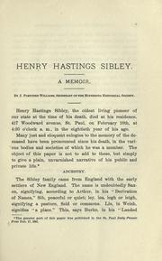 Cover of: Henry Hastings Sibley | J. Fletcher Williams