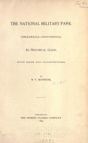 Cover of: The national military park, Chickamauga -- Chattanooga by Henry Van Ness Boynton