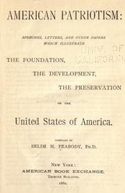 Cover of: American Patriotism | Peabody, Selim H.