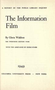 Cover of: The information film | Gloria Waldron
