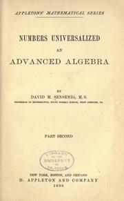 Cover of: Numbers universalized by David M. Sensenig