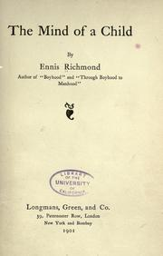 Cover of: The mind of a child | Ennis Richmond