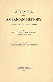 Cover of: A temple of American history | William Warner Bishop