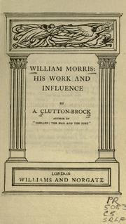 Cover of: William Morris | A. Clutton-Brock
