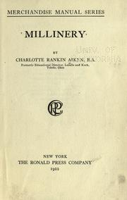 Cover of: Millinery by Charlotte Rankin Aiken