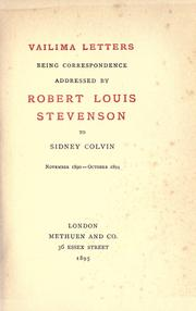 Cover of: Vailima letters by Robert Louis Stevenson