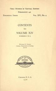 Cover of: Contents [and index] to volume 14, numbers 1 to 3, Zoological series | Field Museum of Natural History.