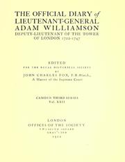 Cover of: The official diary of Lieutenant-General Adam Williamson | Adam Williamson