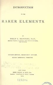 Cover of: Introduction to the rarer elements | Philip Embury Browning