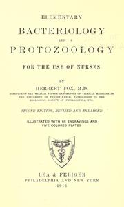 Cover of: Elementary bacteriology and protozoölogy for the use of nurses | Fox, Herbert