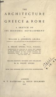 Cover of: The architecture of Greece & Rome | Anderson, William J.