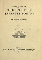 Cover of: The spirit of Japanese poetry by Yoné Noguchi