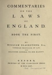 Cover of: Commentaries on the laws of England | Sir William Blackstone