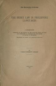 Cover of: The Pepet law in Philippine languages | Carlos Everett Conant