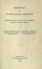 Cover of: Essentials of pathological chemistry | Victor Caryl Myers