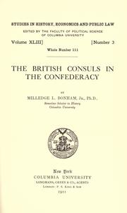 Cover of: The British consuls in the confederacy | Milledge Louis Bonham
