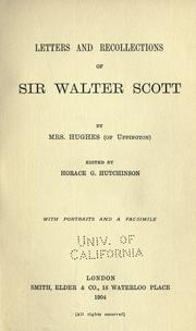 Cover of: Letters and recollections of Sir Walter Scott | Mary Ann Watts Hughes