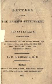 Cover of: Letters from the British settlement in Pennsylvania | Charles Britten Johnson