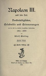 Cover of: Napoleon III und sein Hof by Adolph Ebeling