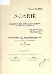 Cover of: Acadie | Édouard Richard