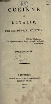Cover of: Corinne | Madame de Staël