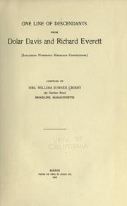 Cover of: One line of descendants from Dolar Davis and Richard Everett by Eleanor Francis Davis Crosby