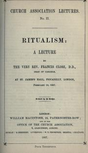 Cover of: Ritualism by Close, F.