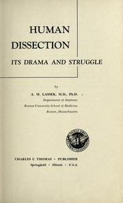 Cover of: Human dissection | Arthur M. Lassek