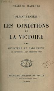 Cover of: Les conditions de la victoire | Maurras, Charles