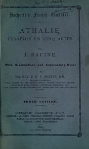 Cover of: Athalie | Jean Racine