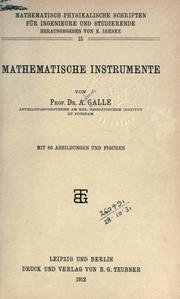Cover of: Mathematische Instrumente | Andreas Wilhelm Gottfried Galle