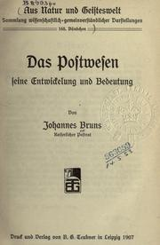 Cover of: Das Postwesen | Johannes Bruns