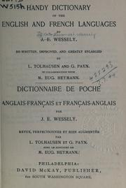 Cover of: Handy dictionary of the English and French languages | Ignaz Emanuel Wessely