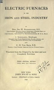 Cover of: Electric furnaces in the iron and steel industry by Wilhelm Rodenhauser