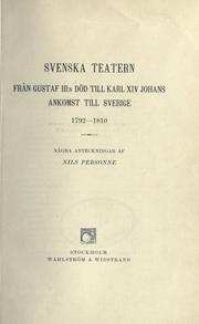 Cover of: Svenska teatern by Nils Personne