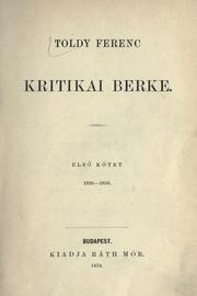 Cover of: Kritikai berke by Toldy, Ferenc