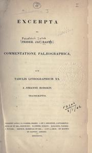 Cover of: Excerpta ex Commentatione palaeographica by Friedrich Jakob Bast