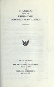 Cover of: Hearing before the United States Commission on Civil Rights | United States Commission on Civil Rights.