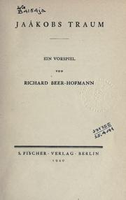 Cover of: Jaákobs Traum | Richard Beer-Hofmann