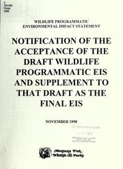 Cover of: Wildlife programmatic environmental impact statement by Montana. Dept. of Fish, Wildlife, and Parks.