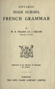 Cover of: Ontario high school French grammar | W. H. Fraser