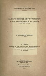 Cover of: Family desertion and non-support | Samuel Howard Patterson